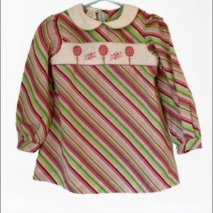 Girls dress smocked lollipops red green striped 2T